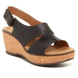 Clark's • Rosemund Dune Platform Wedge Leather